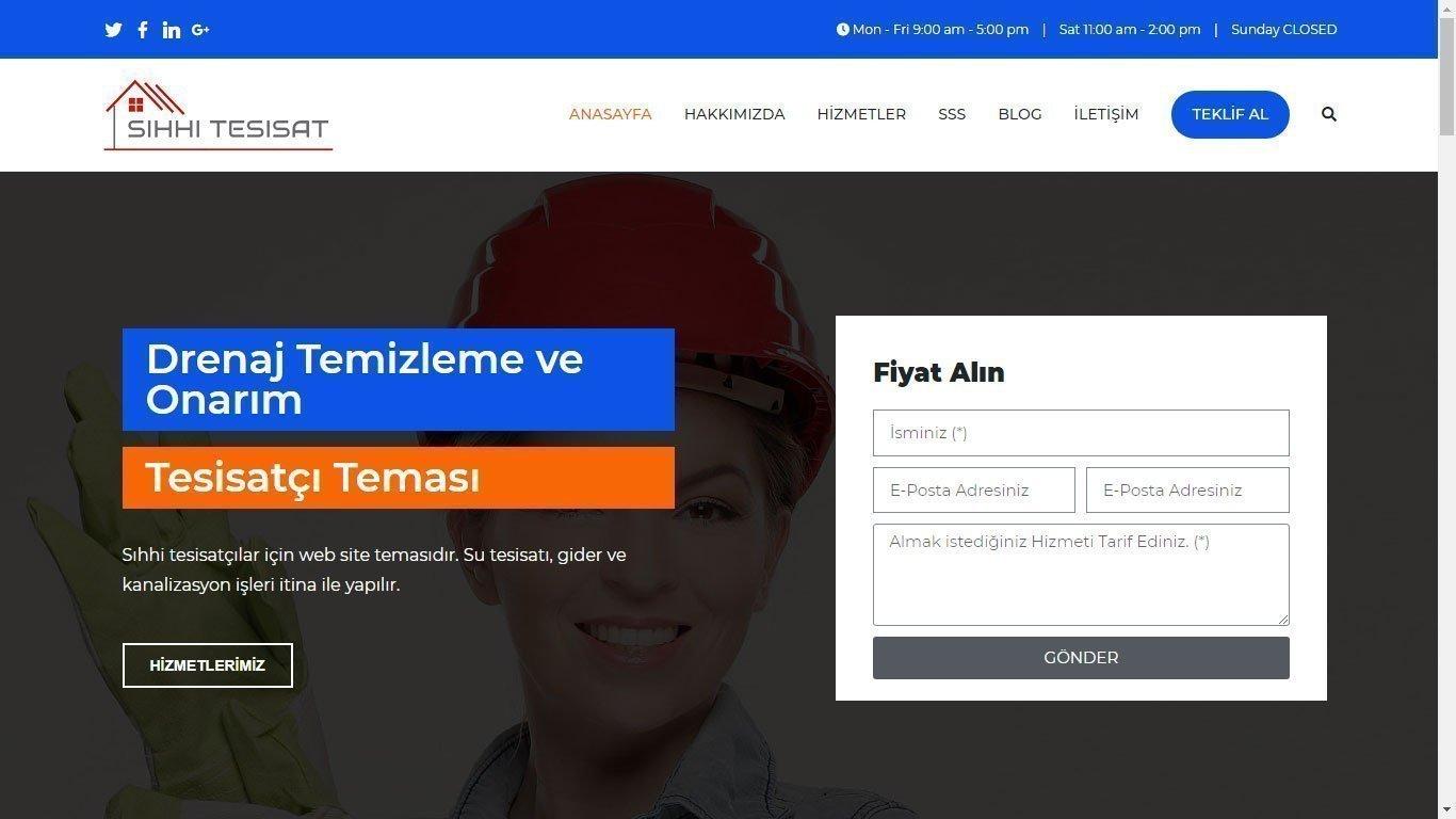 Tema 19 - Ucuz Wen Sitesi Yapan Firma - Sıhhi Tesisat Web tasarım